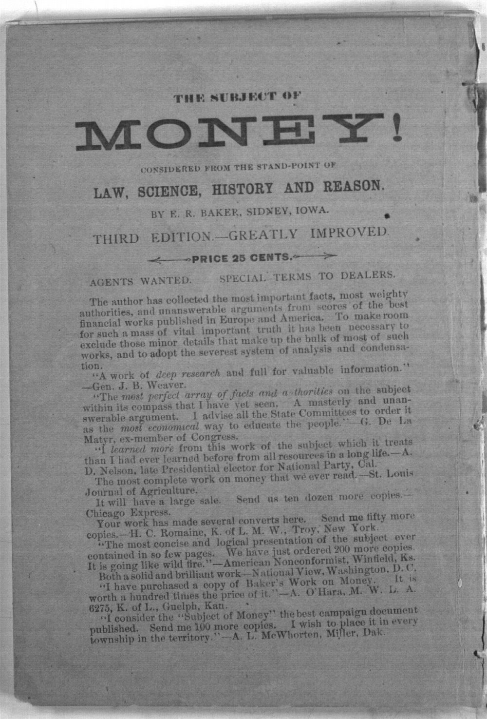 The Subject of Money Considered from the Standpoints of Law, Science, History, Reason. (Third Edition) - 67