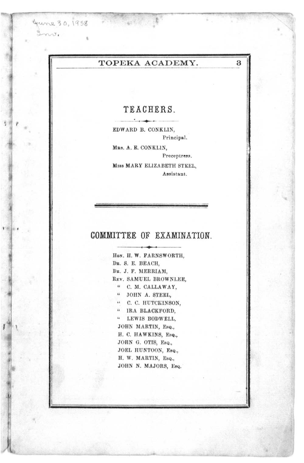 First semi-annual catalogue of Topeka Academy - 2