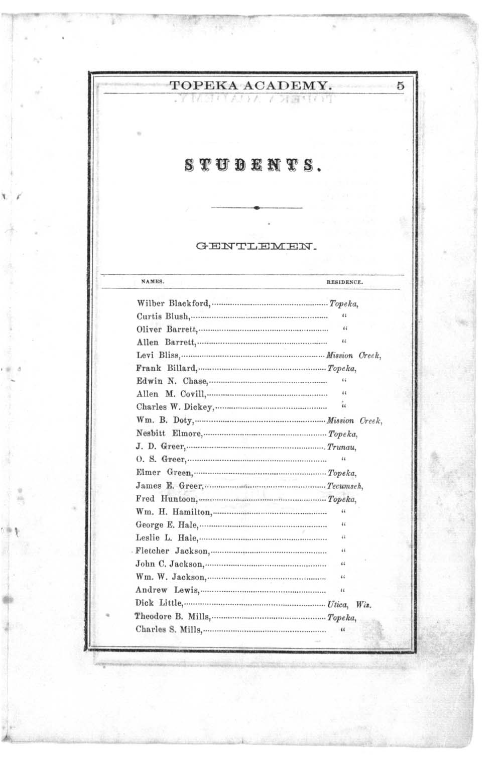 First semi-annual catalogue of Topeka Academy - 3