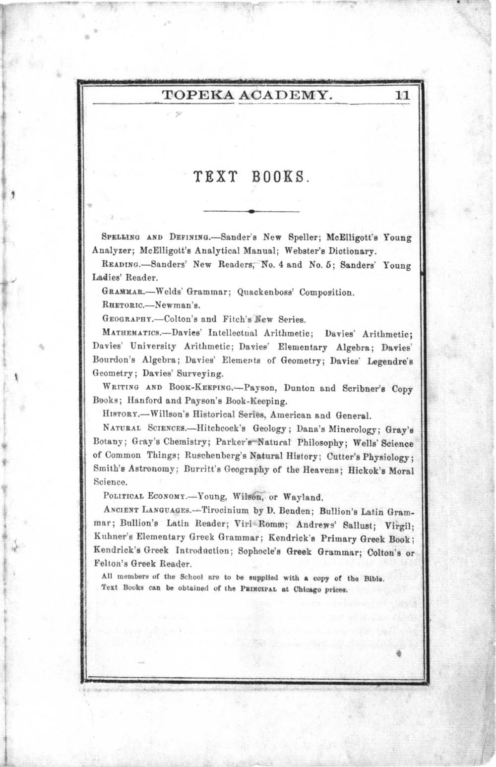 First semi-annual catalogue of Topeka Academy - 9