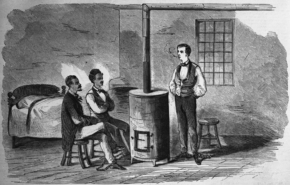 Prisoners Shields Green, Copeland, and Haslett in a jail cell following the Harpers Ferry insurrection