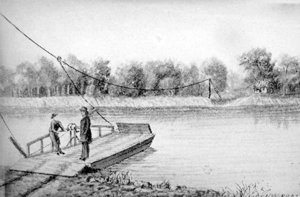 Pappan's Ferry in Topeka, Kansas Territory