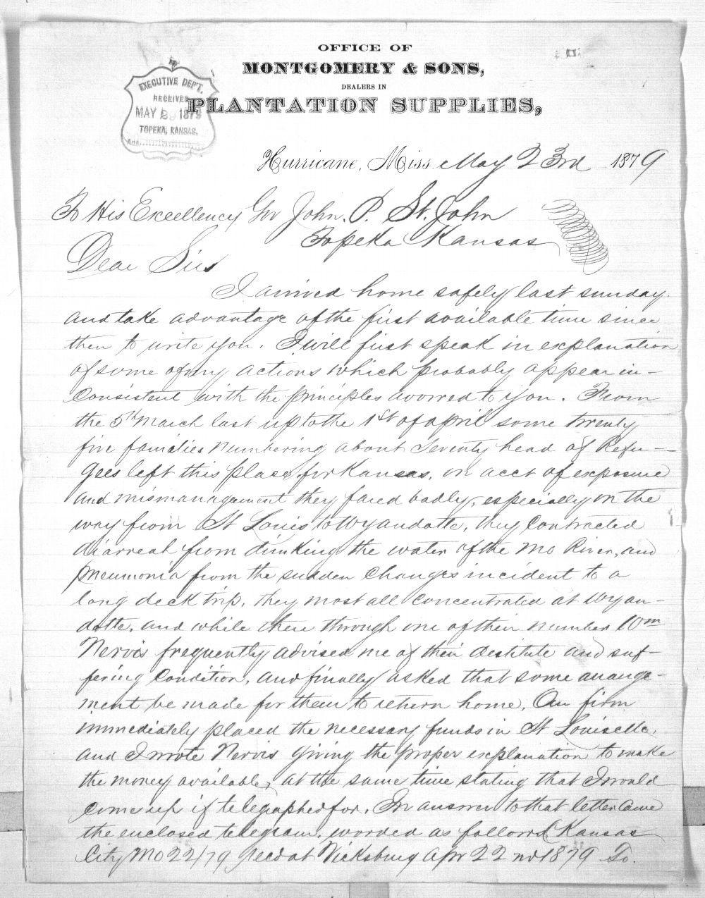 Isaiah T. Montgomery to Governor John P. St. John - 1