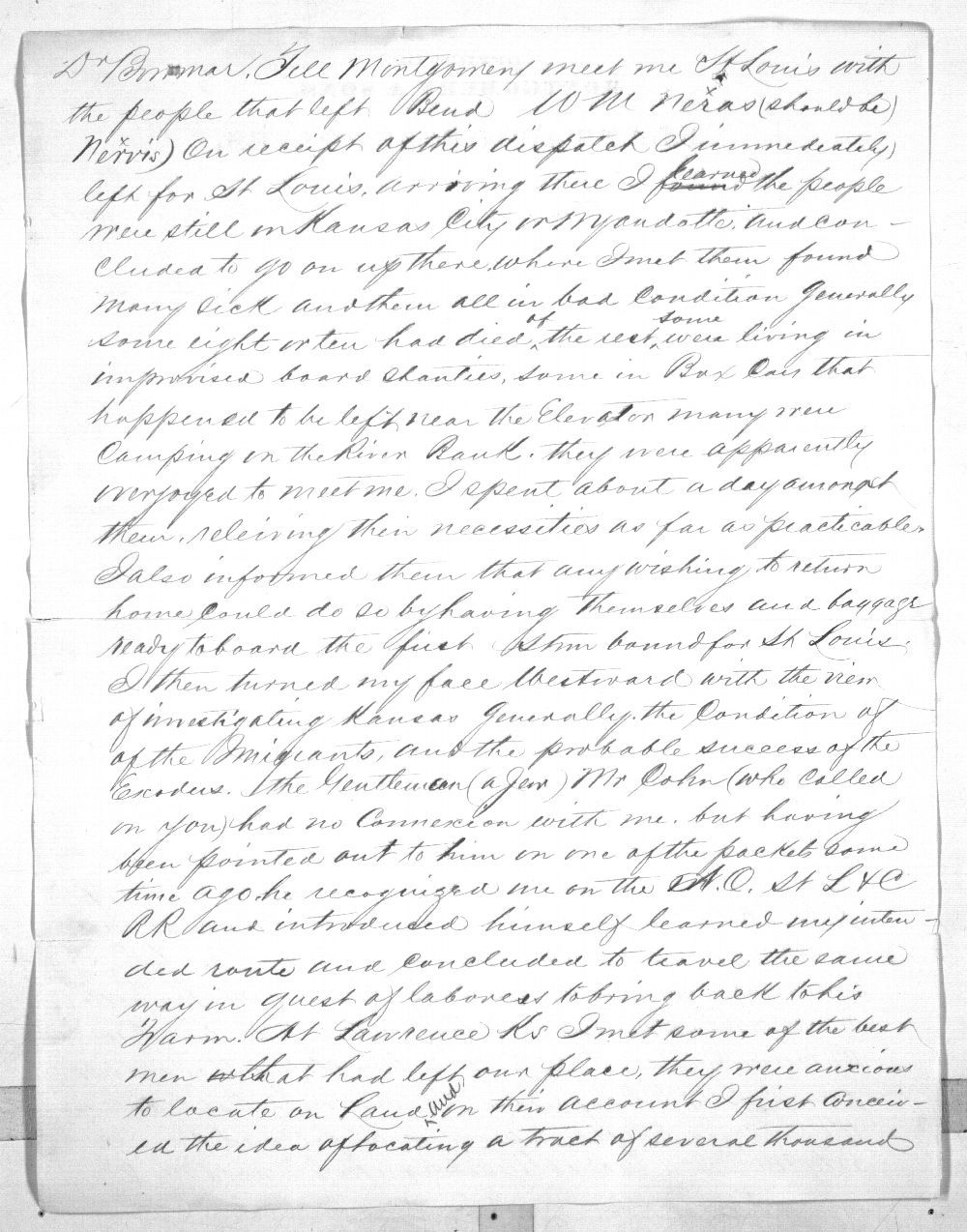 Isaiah T. Montgomery to Governor John P. St. John - 2