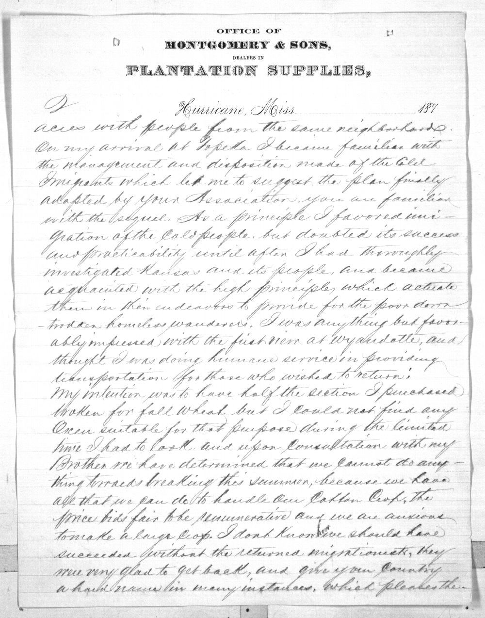 Isaiah T. Montgomery to Governor John P. St. John - 3