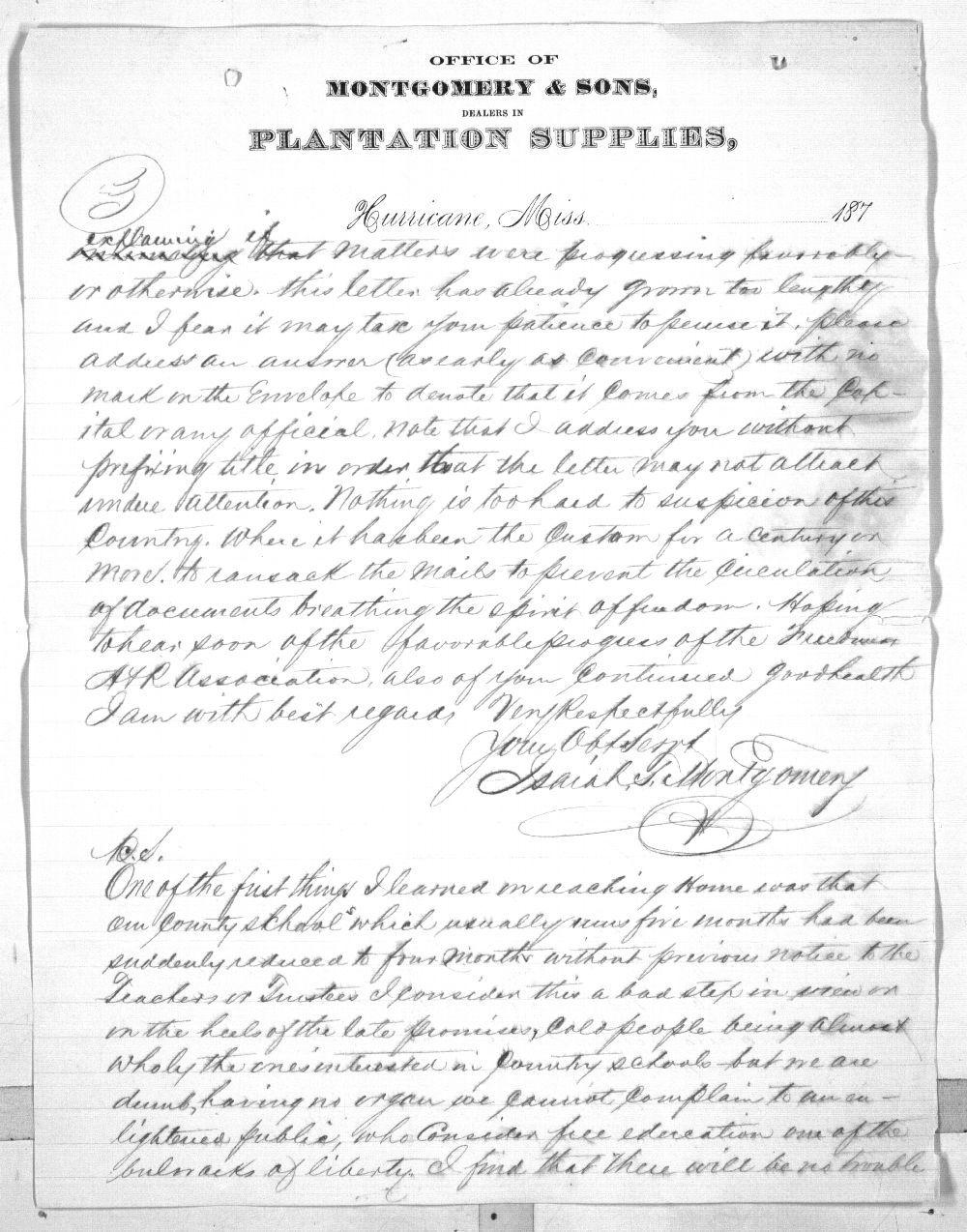 Isaiah T. Montgomery to Governor John P. St. John - 5