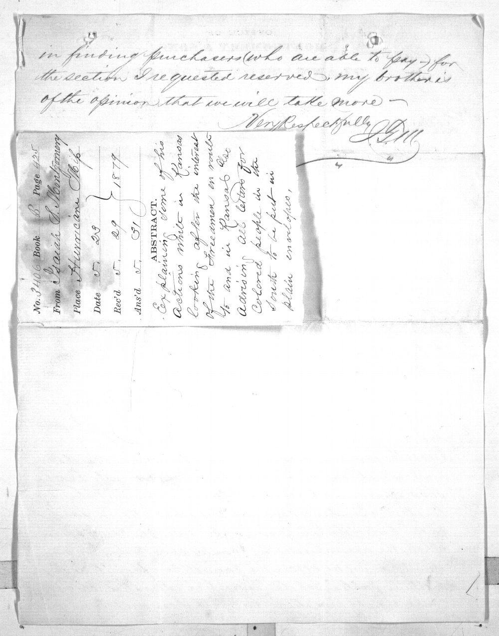 Isaiah T. Montgomery to Governor John P. St. John - 6