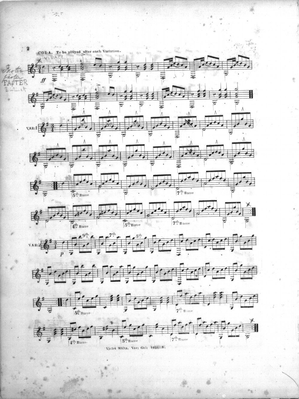 Celebrated violet waltz varied for the guitar - 3
