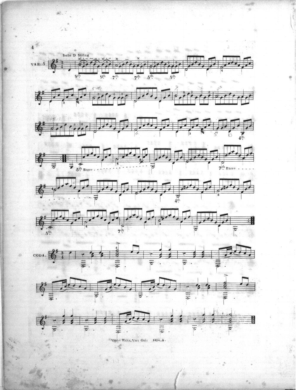 Celebrated violet waltz varied for the guitar - 5