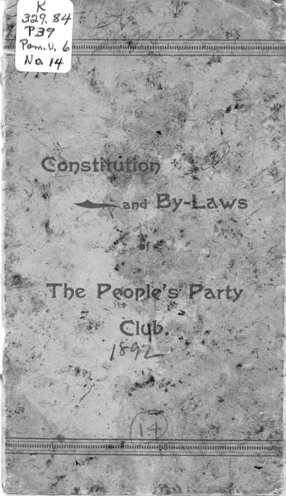 Constitution and by-laws of the People's Party Club - 1