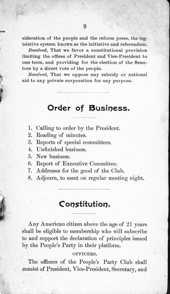 Constitution and by-laws of the People's Party Club - 10