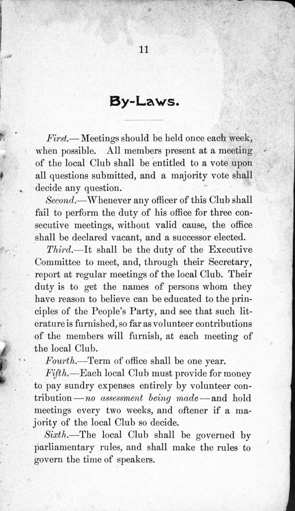 Constitution and by-laws of the People's Party Club - 12