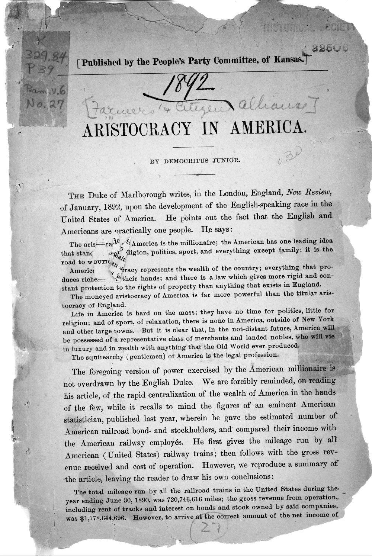 Aristocracy in America - 1