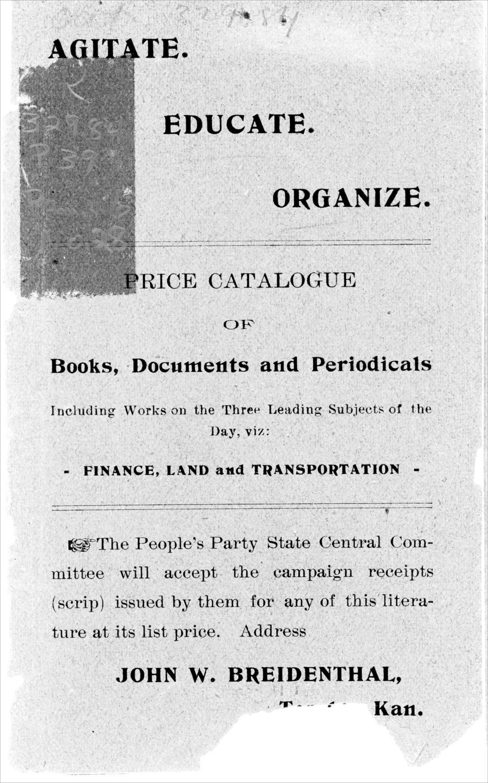 Agitate, educate, organize:  price catalogue of books, documents and periodicals - 1