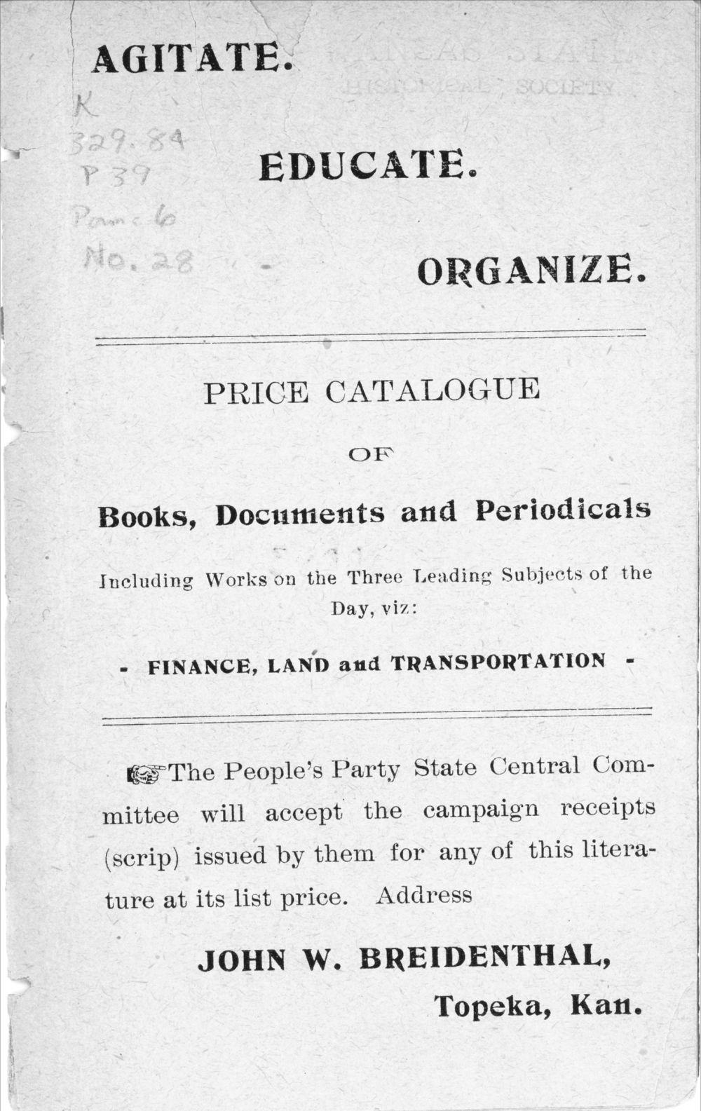 Agitate, educate, organize:  price catalogue of books, documents and periodicals - 2