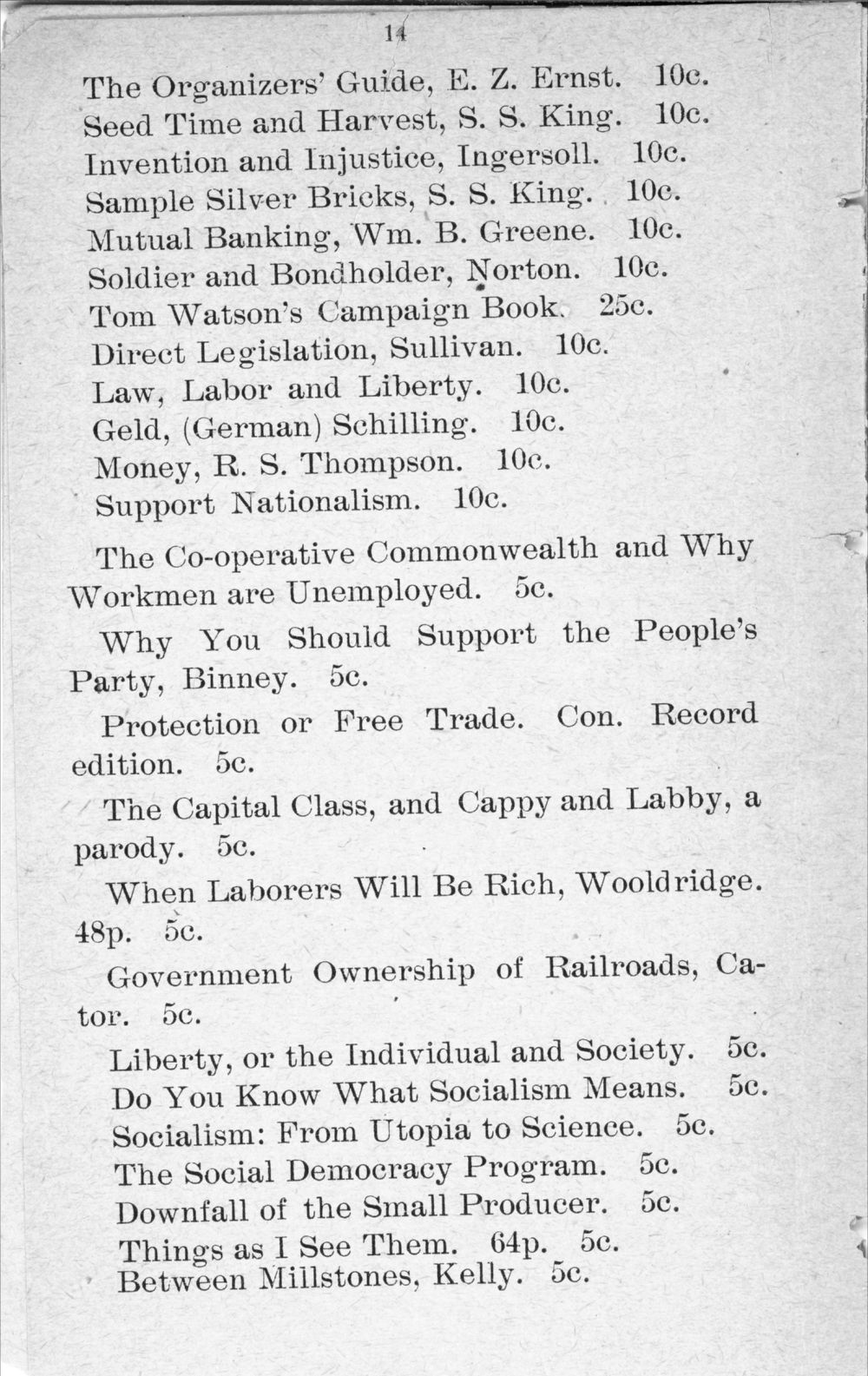 Agitate, educate, organize:  price catalogue of books, documents and periodicals - 14