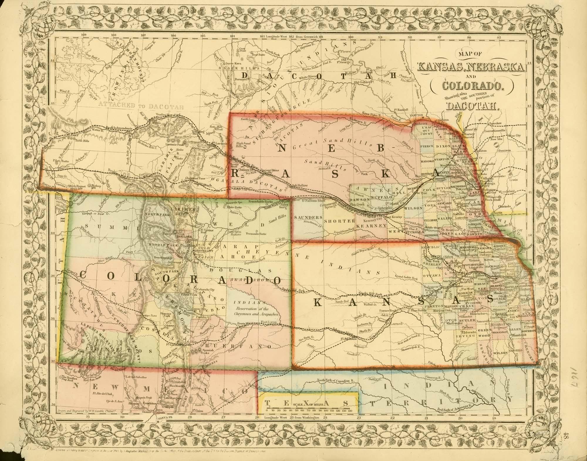 map of kansas, nebraska and colorado - kansas memory