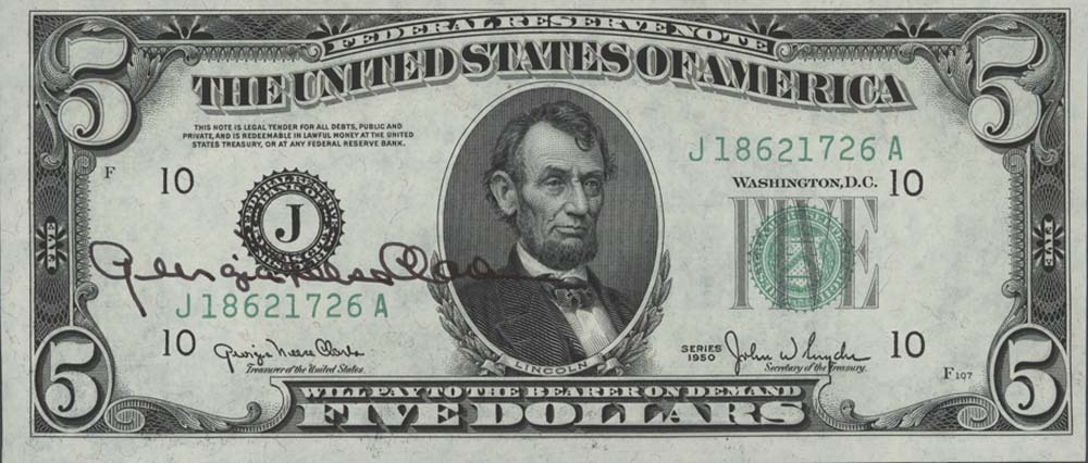 Five Dollar Bill Signed By Georgia Neese Clark Gray