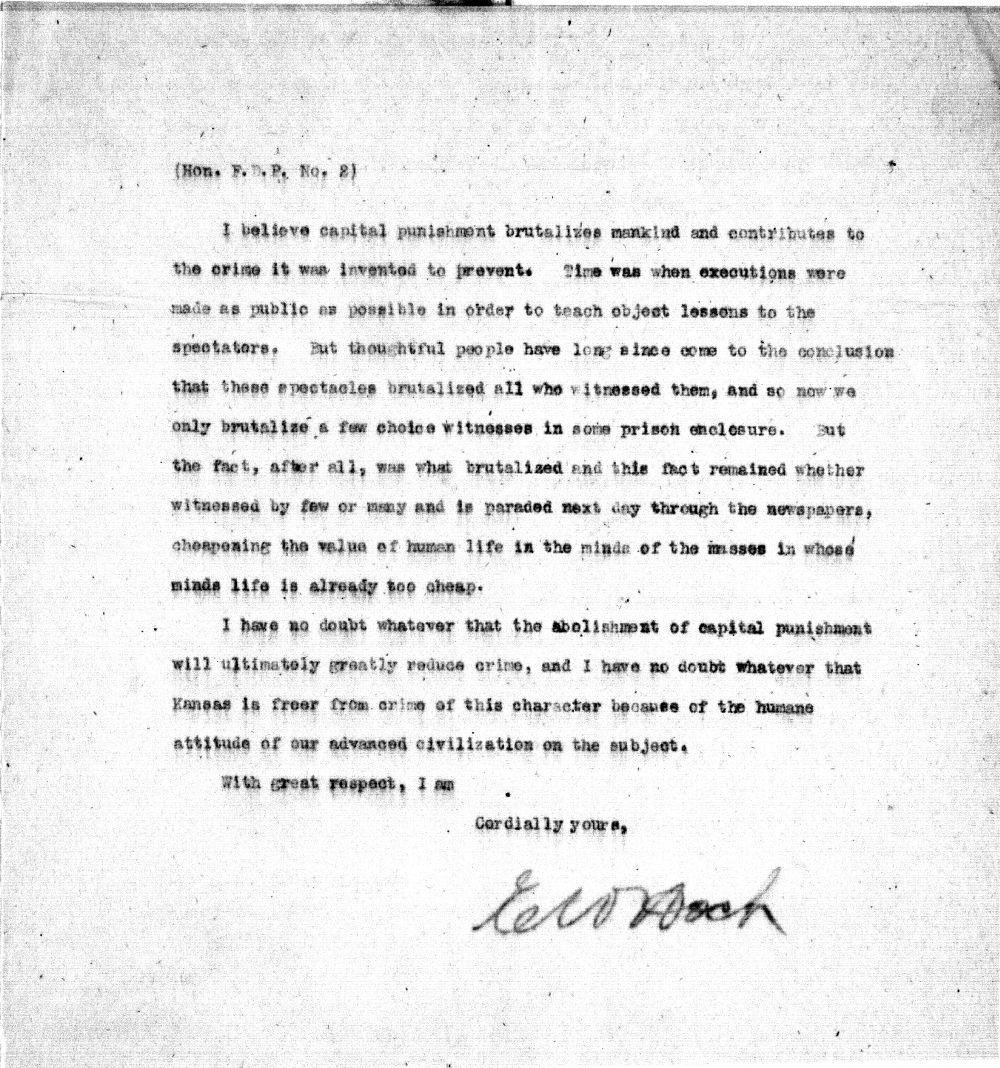 Governor Edward W. Hoch to Governor Fletcher D. Procter, 1906