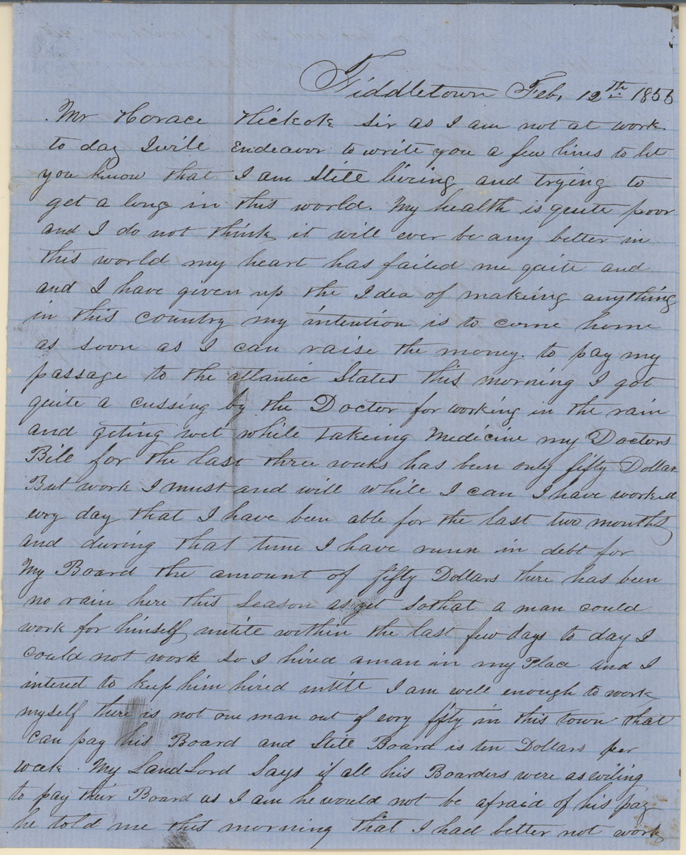 James Butler (Wild Bill) Hickok family collection - February 12, 1855, p1