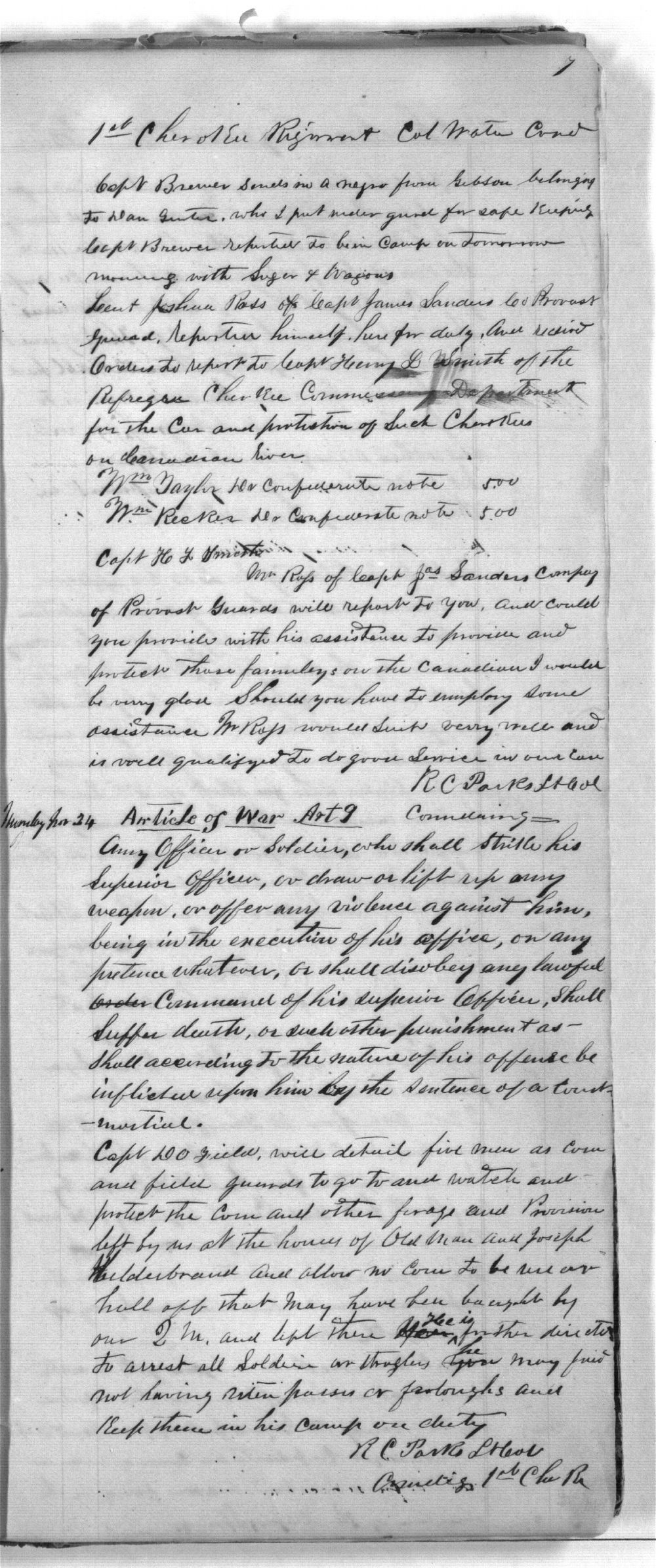 First Cherokee Regiment day book - 7