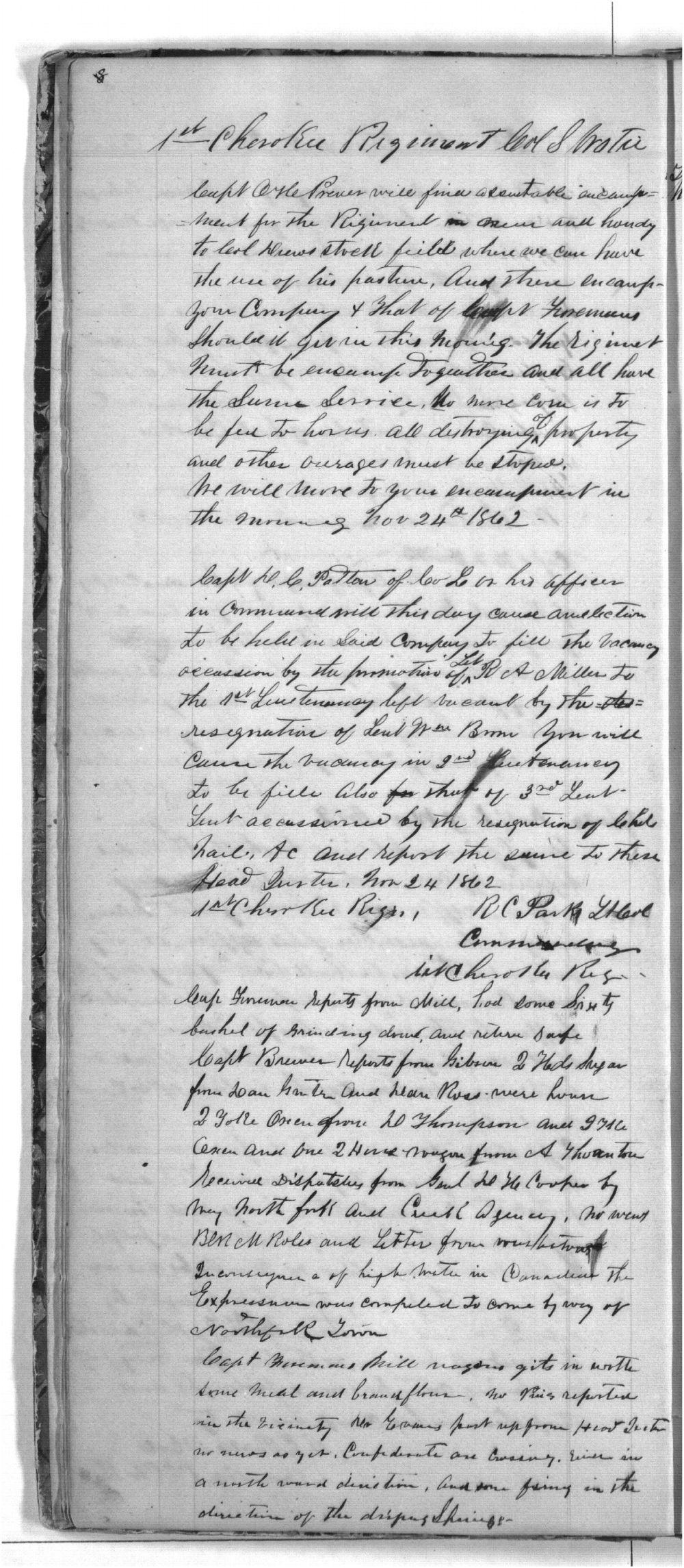 First Cherokee Regiment day book - 8