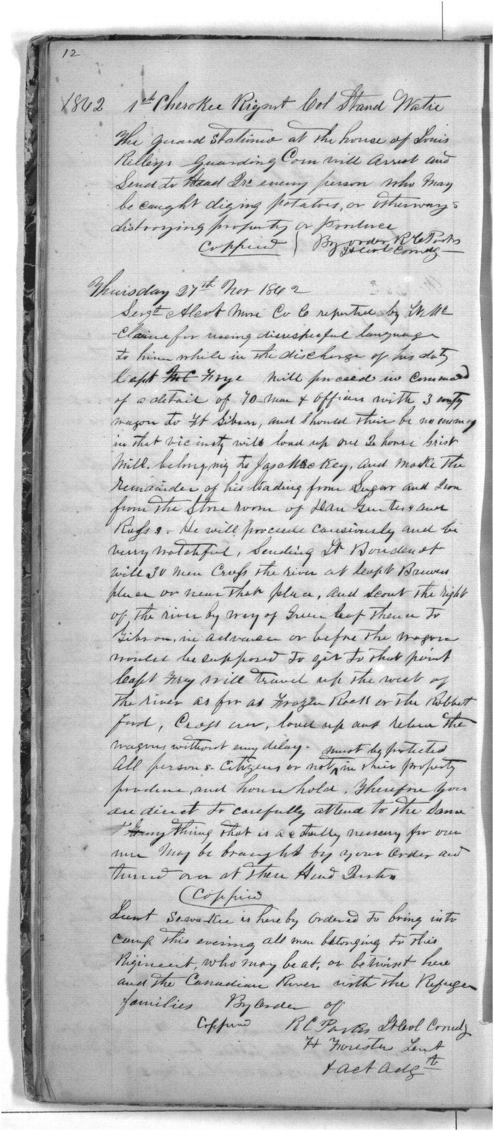 First Cherokee Regiment day book - 12