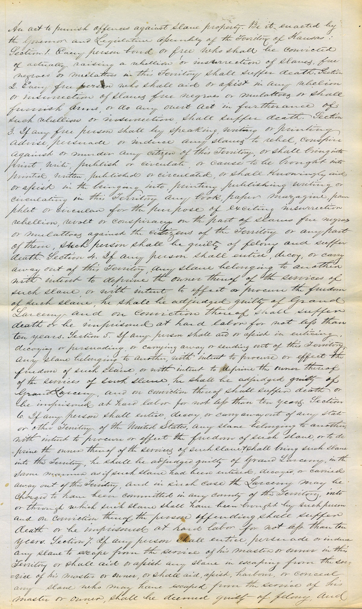 An act to punish offences against slave property