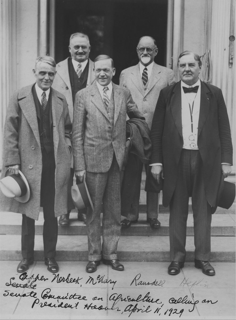 Arthur Capper, with Senators Norbeck, McNary, Ransdell, and Heflin calling on President Herbert Hoover at the White House
