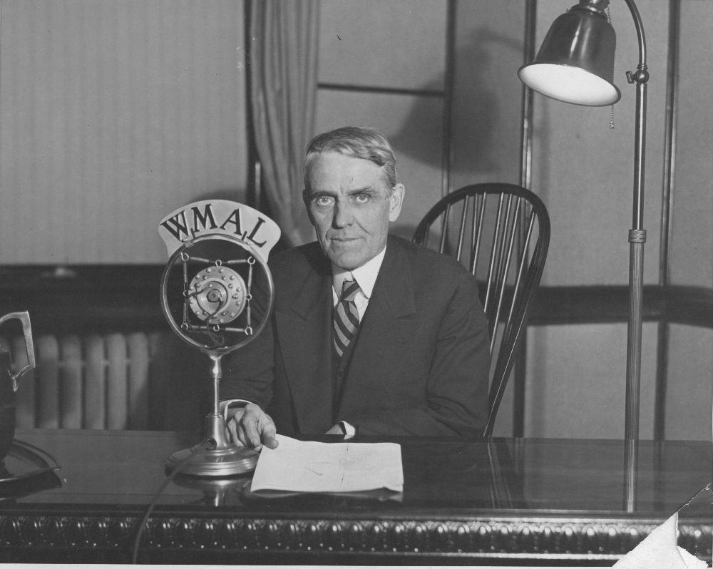 Senator Arthur Capper broadcasting on WMAL Radio