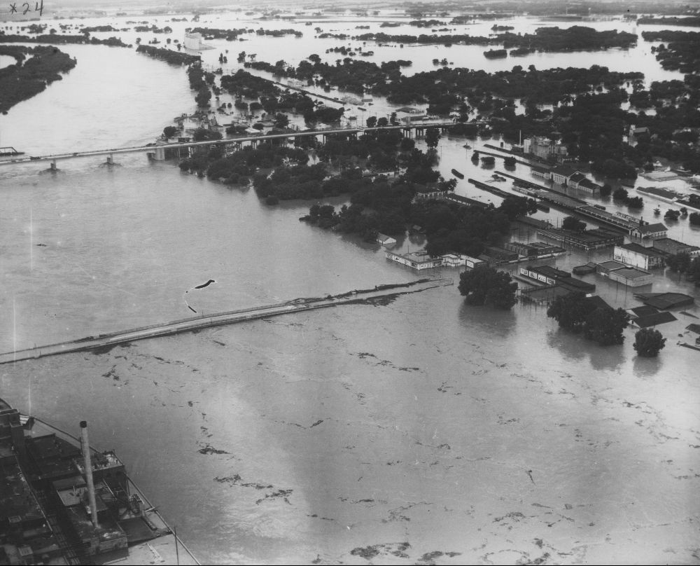 Kansas River and North Topeka during the 1951 flood