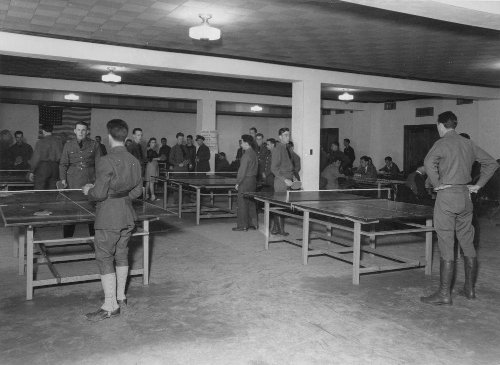 Playing table tennis, Junction City, Kansas