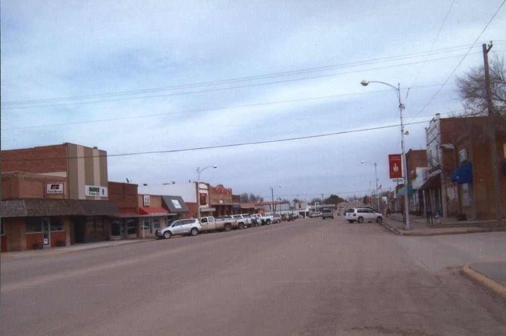 Main business street in Elkhart, Kansas