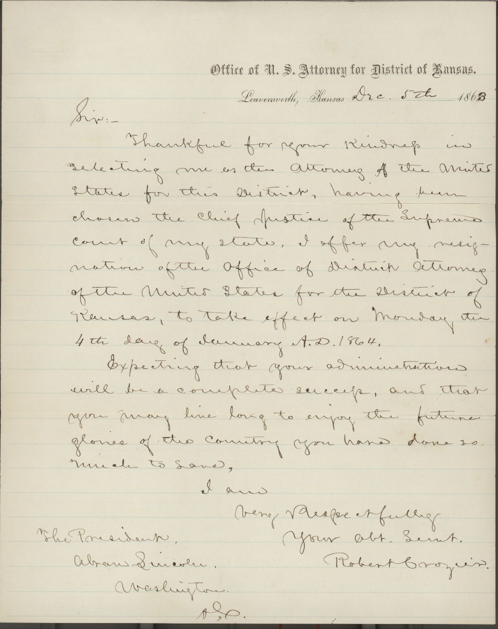 Robert Crozier to Abraham Lincoln