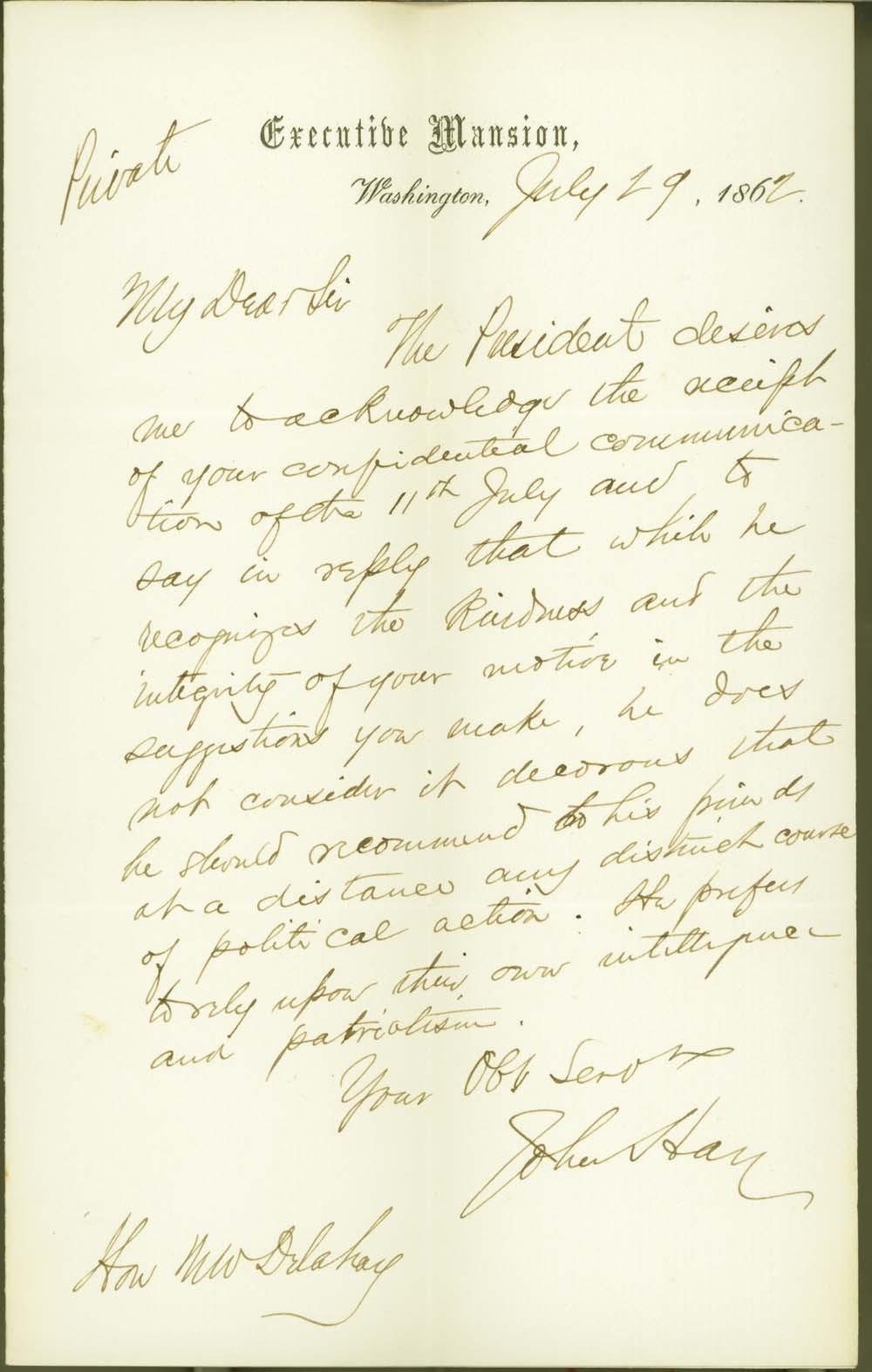 John Milton Hay to Mark W. Delahay