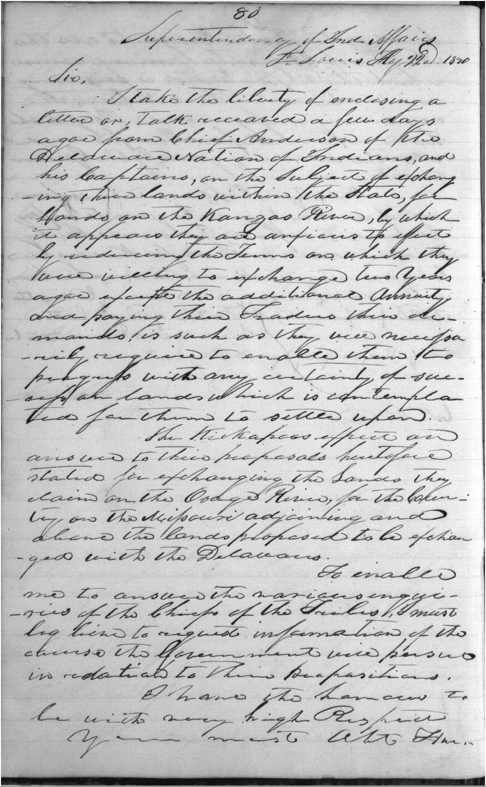 William Clark to John H. Eaton - 1