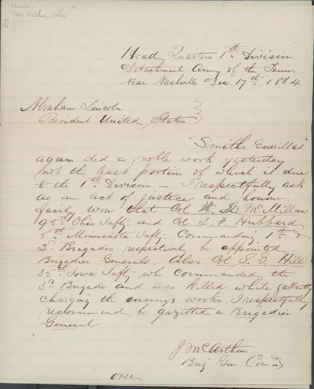 John McArthur to Abraham Lincoln, President of the United States - 1