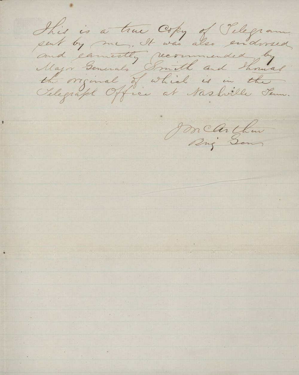 John McArthur to Abraham Lincoln, President of the United States - 2