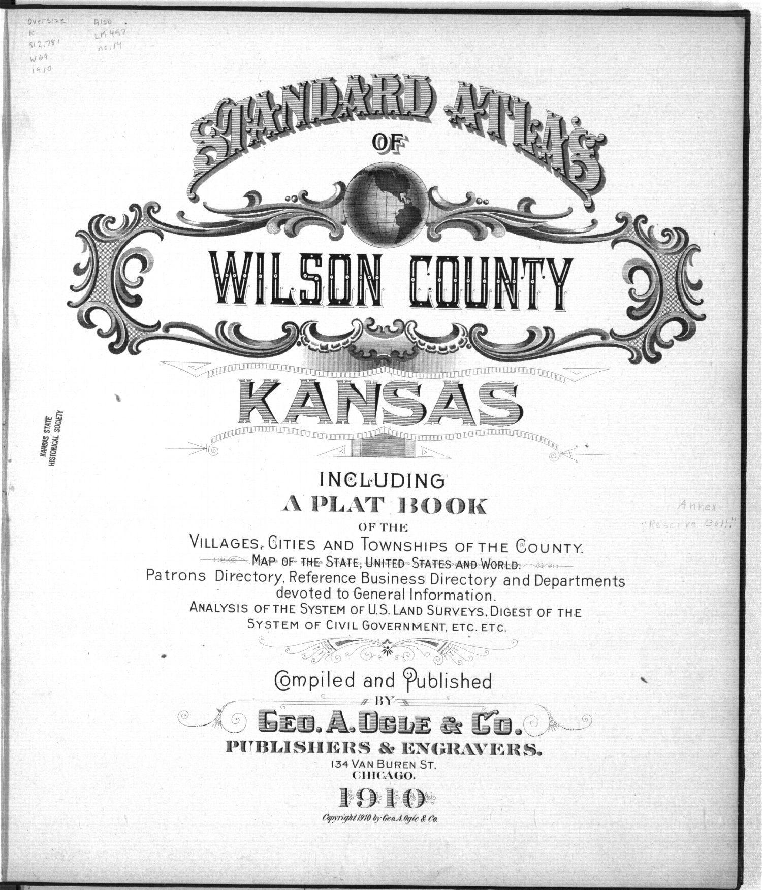 Standard atlas of Wilson County, Kansas - Title Page