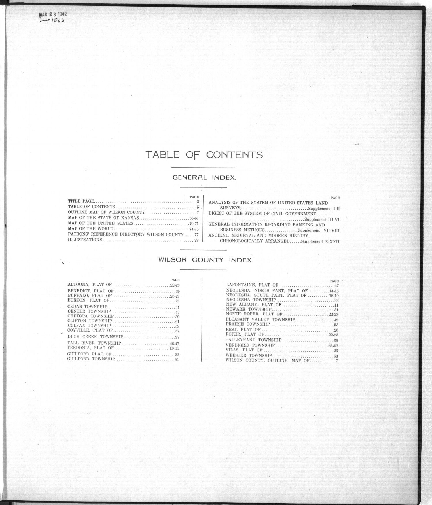 Standard atlas of Wilson County, Kansas - Table of Contents