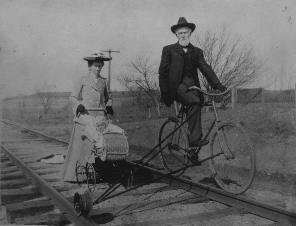 Bicycle adapted for rail use, Bourbon County, Kansas