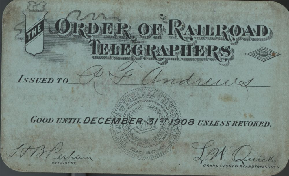 Order of Railroad Telegraphers pass - 1