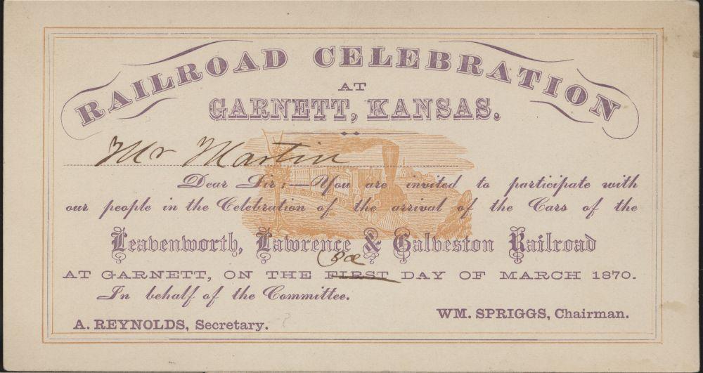 Leavenworth, Lawrence, & Galveston Railroad passes - 1