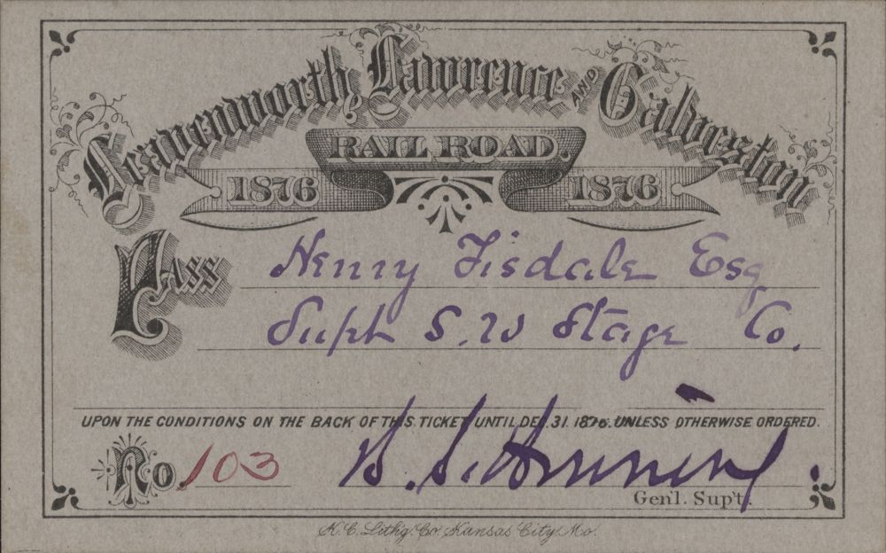 Leavenworth, Lawrence, & Galveston Railroad passes - 2