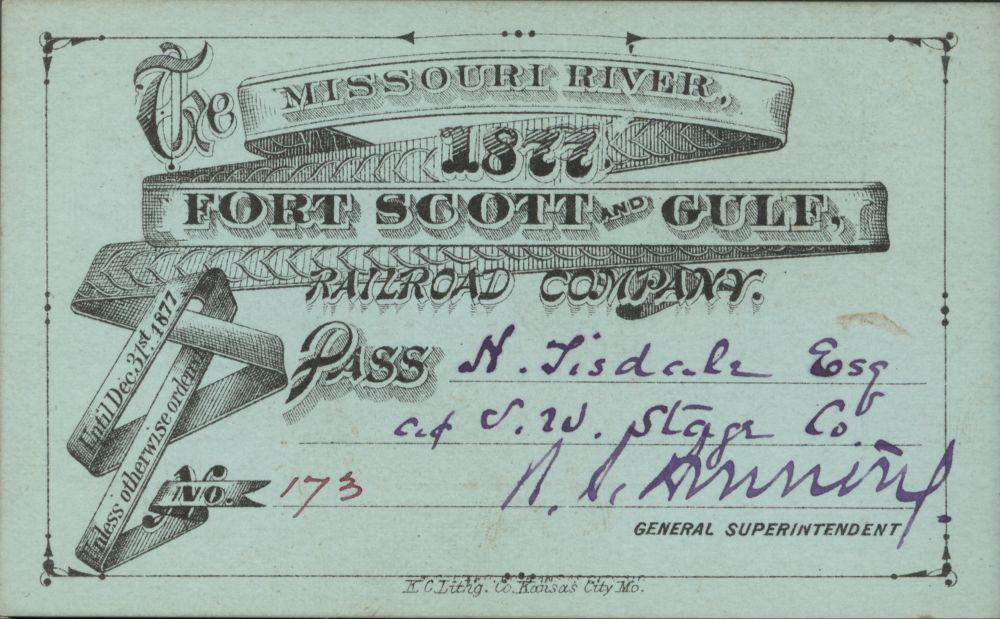 Missouri River, Ft. Scott & Gulf Railroad passes - 1