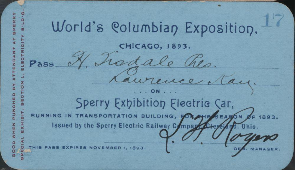 World's Columbian Exposition pass - 1
