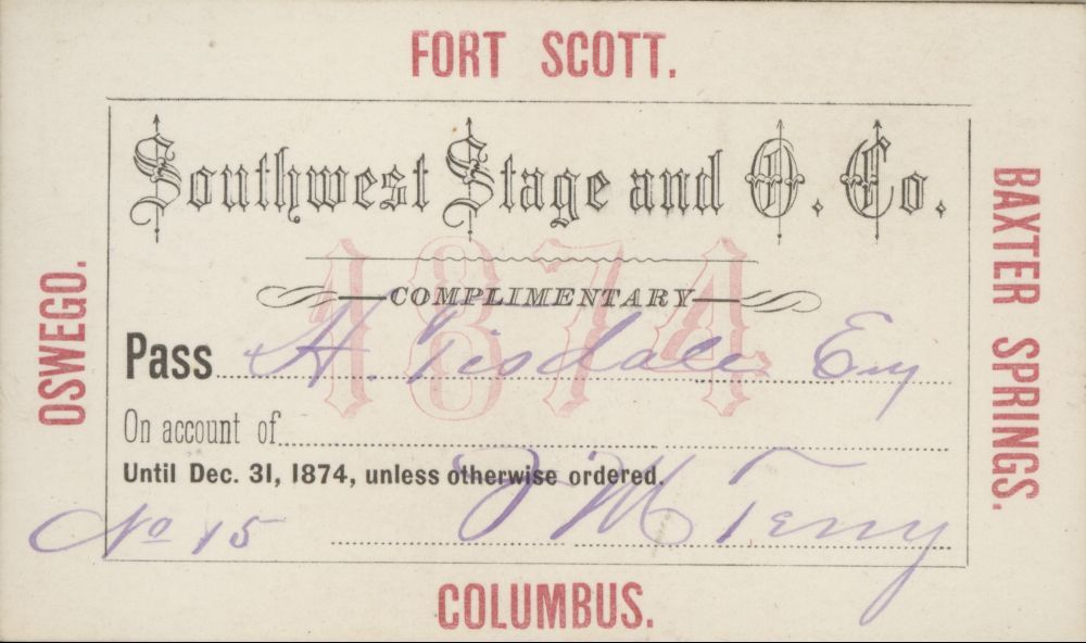 Mail and stagecoach passes - Southwest Stage and O. Co. Pass expiration No. 15 December 31, 1874