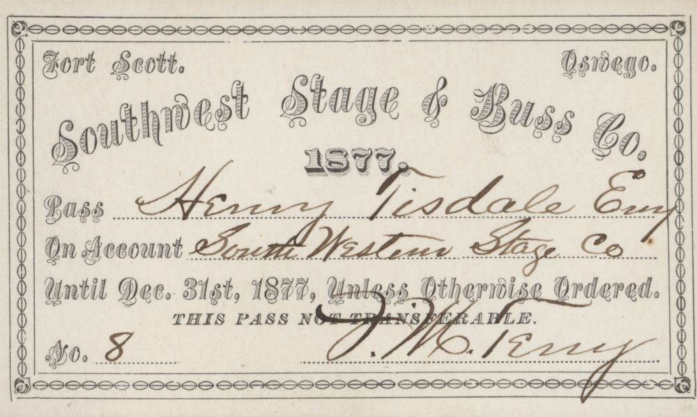 Mail and stagecoach passes - Southwest Stage & Buss Co. Pass expiration No.8 December 31, 1877