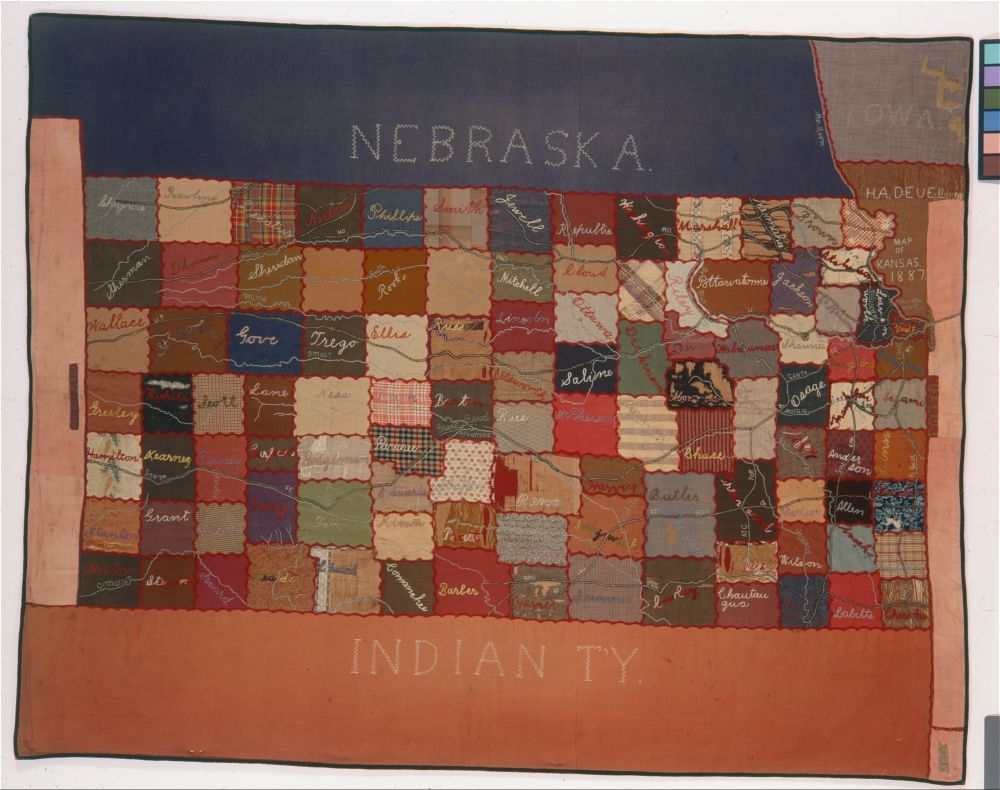 Quilt depicting a map of  the State of Kansas