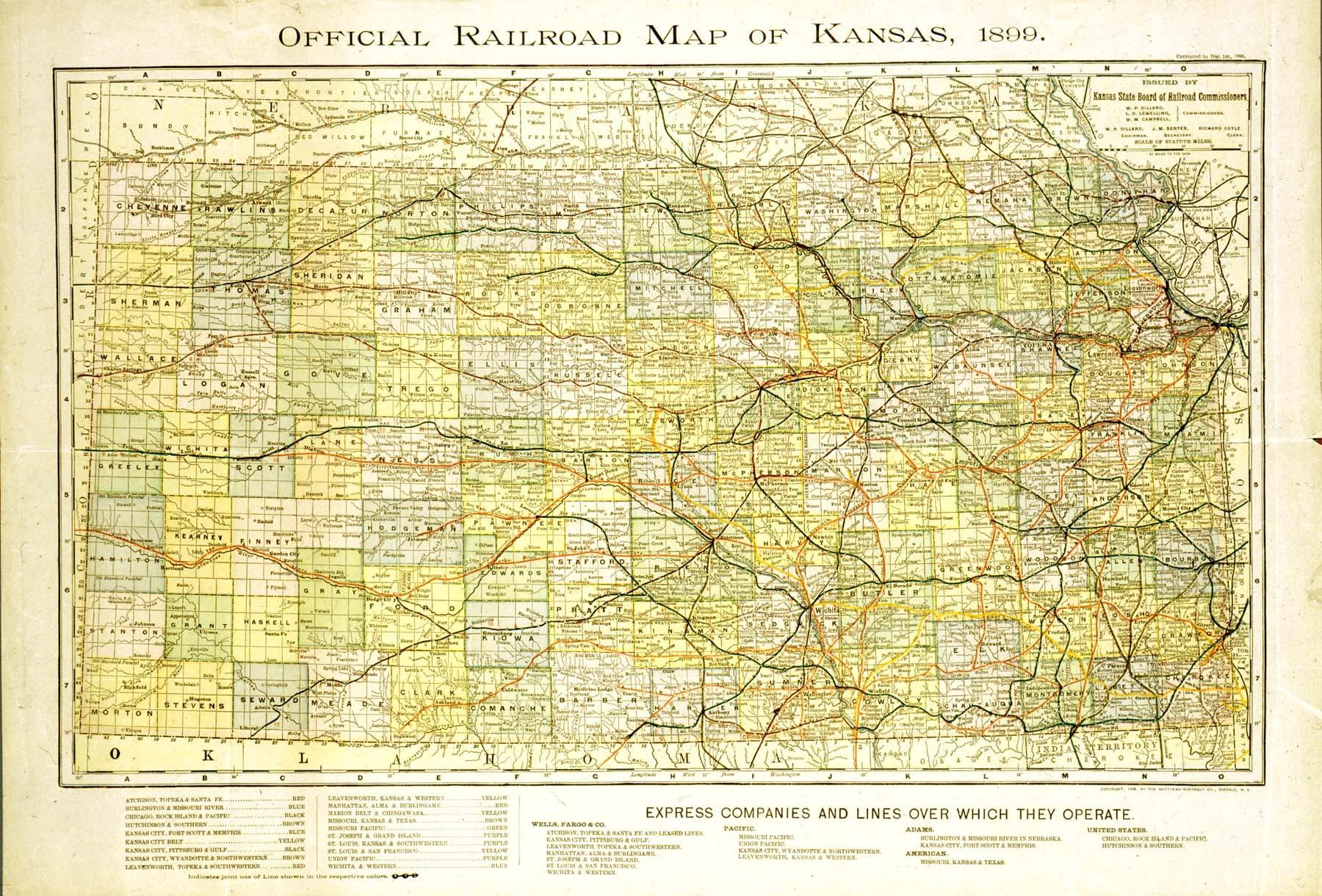 Official railroad map of Kansas 1899